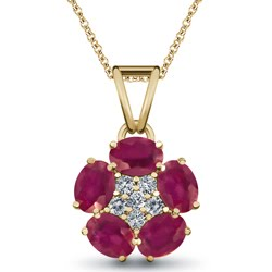 Forever Floral Ruby & Diamond Pendant, 18K Yellow Gold