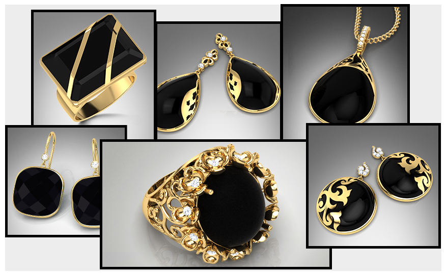Black Onyx & Gold Jewellery